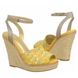 Seychelles Birds Yellow Ankle Strap Wedges Sandals